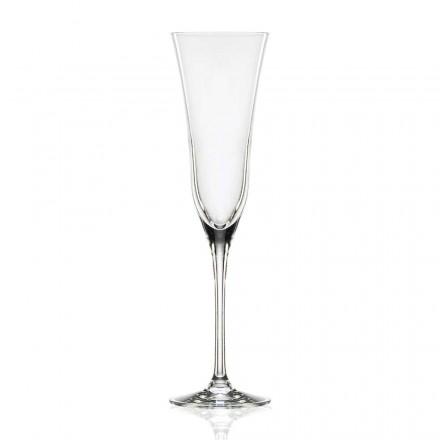 12 Flute Glasses in Eco Luxury Crystal, Minimal Design, Luxury Line - Lisciato