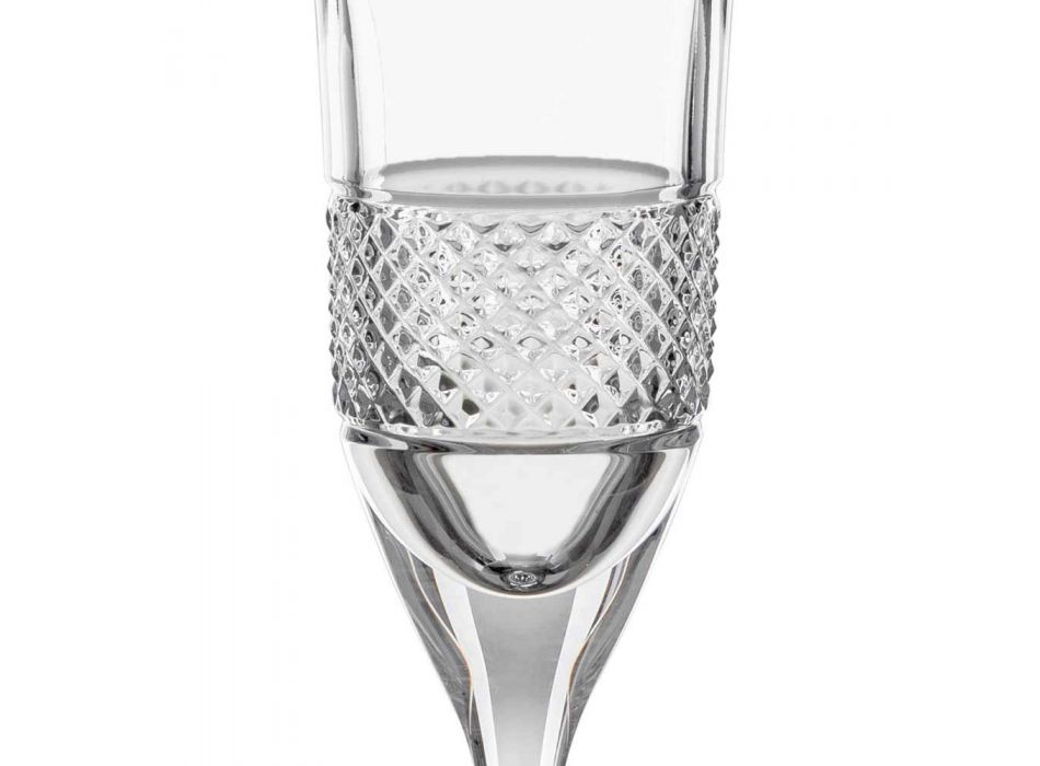 12 Flute Glasses for Champagne in Ecological Crystal with Manual Decoration - Milito