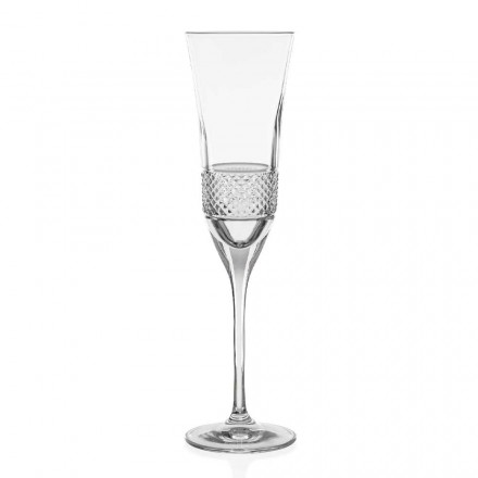 12 Eco Crystal Champagne Flute Glasses, Hand Decorated Luxury Line - Milito