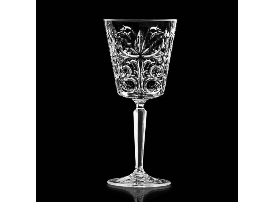 12 Glasses for Water, Drinks or Cocktail Design in Decorated Eco Crystal - Destino