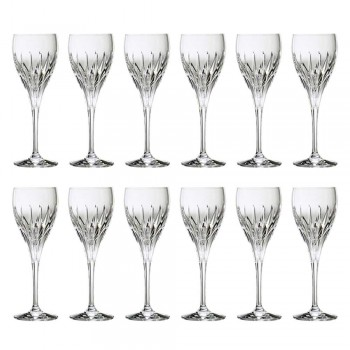 12 Hand-Decorated White Wine Glasses in Ecological Luxury Crystal - Voglia