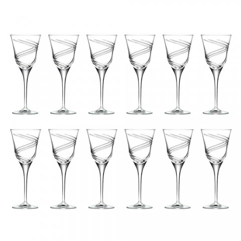 12 Glasses for White Wine in Decorated and Satin Ecological Crystal - Cyclone