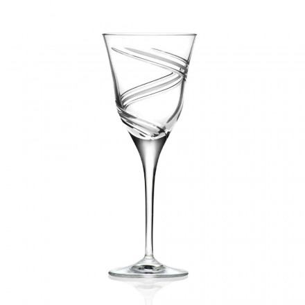 12 Glasses for White Wine in Decorated and Satin Crystal, Luxury Line - Ciclone