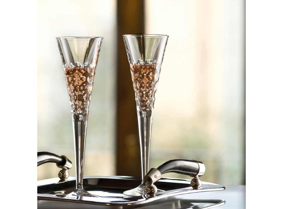 12 Wine Glasses Fluter Glasses for Crystal Bubbles - Titanioball