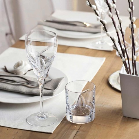 12 Red Wine Glasses in Ecological Crystal Luxury Design - Montecristo