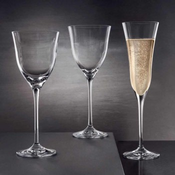 12 Red Wine Glasses in Ecological Crystal Luxury Minimal Design - Smooth