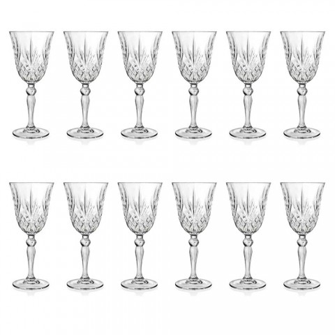 12 Glasses Wine, Water, Cocktail in Ecological Crystal Vintage Style - Cantabile