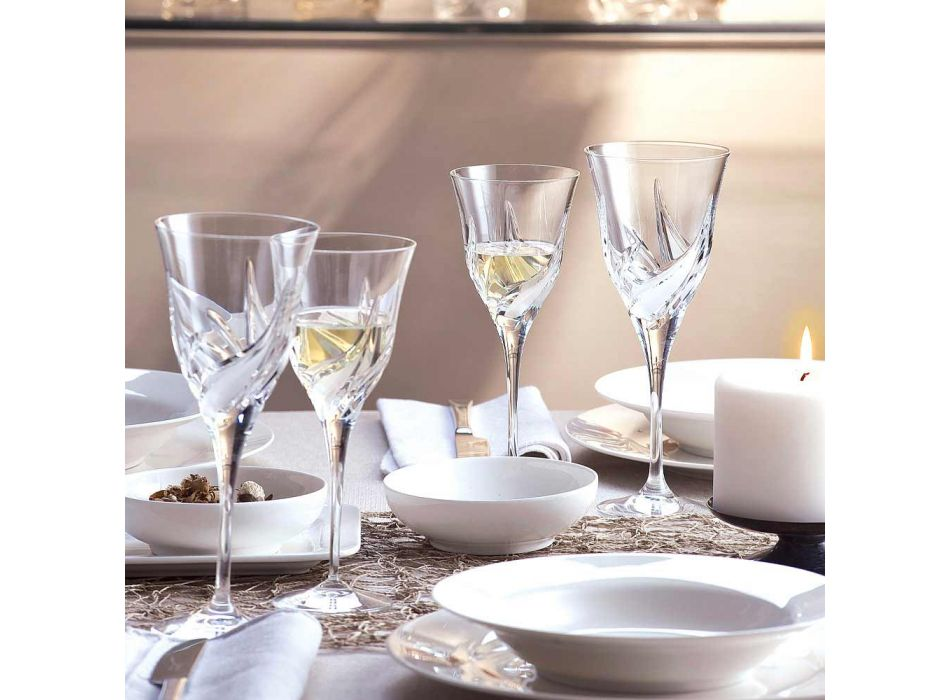 12 Luxury Design White Wine Glasses in Hand Decorated Eco Crystal - Advent