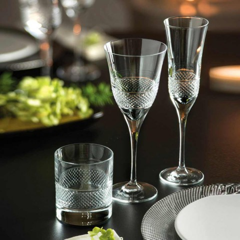12 White Wine Glasses in Ecological Crystal Luxury Decorated Design - Milito