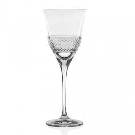 12 White Wine Glasses in Eco Crystal, Decorated Design, Luxury Line - Milito