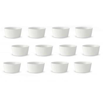 12 Modern Design White Porcelain Ice Cream or Fruit Cups - Egle