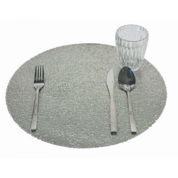 12 Round Christmas Placemats PVC Gold or Silver for Lunch or Breakfast - Tovagly