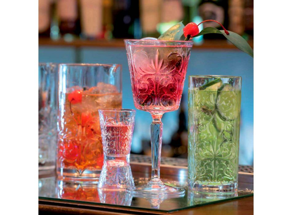 12 Tumbler Tall Highball Cocktail Glass or Luxury Decorated Water - Destiny