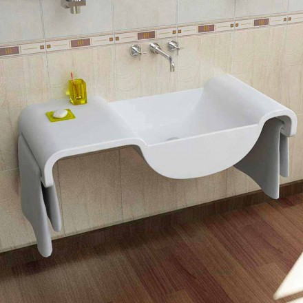 Wall mounted white sink Onda, modern Italian design made in Italy