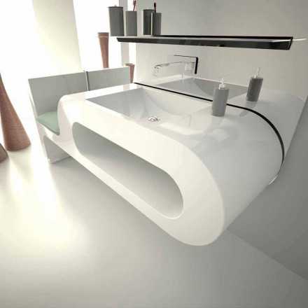 Modern design washbasin Garfish, available in black, white or burgundy