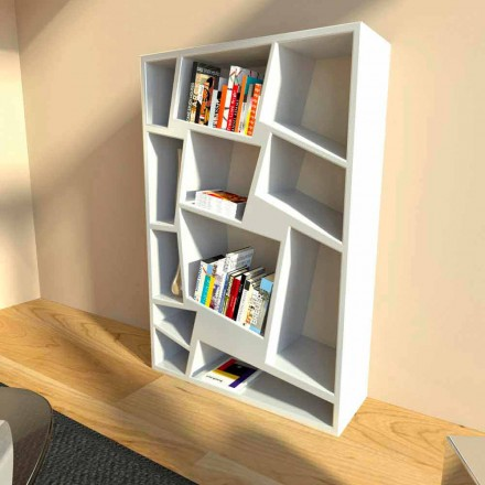 Modern bookcase Christie, made in Italy, white, red, green finish