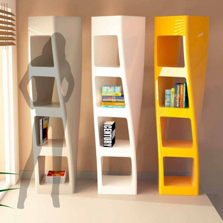 Modern design Solid Surface bookcase Collins, handcrafted in Italy