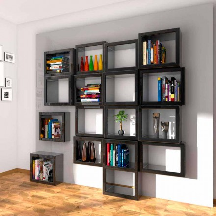 Modern design wall-mounted bookcase Fra011, handcrafted in Italy