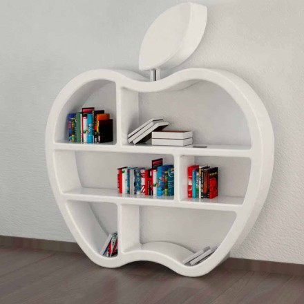 Modern design bookcase Gluttony, available in red, white or grey