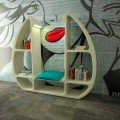 Modern design Solid Surface bookcase Shelley, handcrafted in Italy