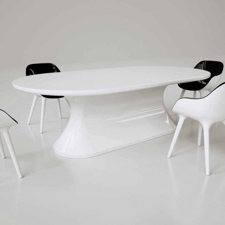 Modern design Solid Surface oval dining table Comfortable, made in Italy
