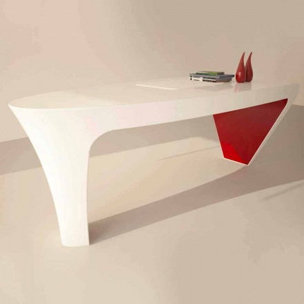 Contemporary design Solid Surface office desk Ashe, made in Italy