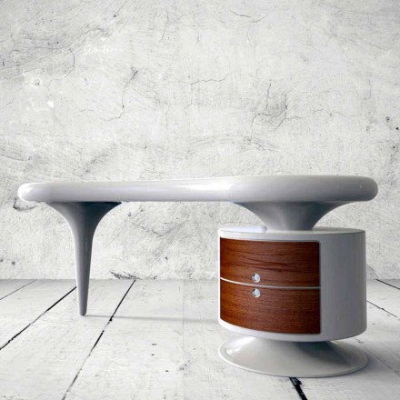 Modern design office desk Bean, available in white, red or black
