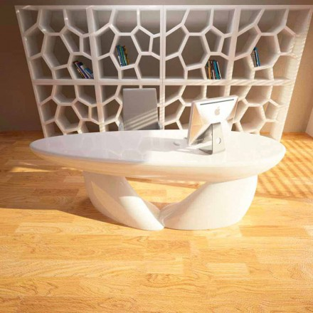 Contemporary design office desk Sofstone, handmade in Italy