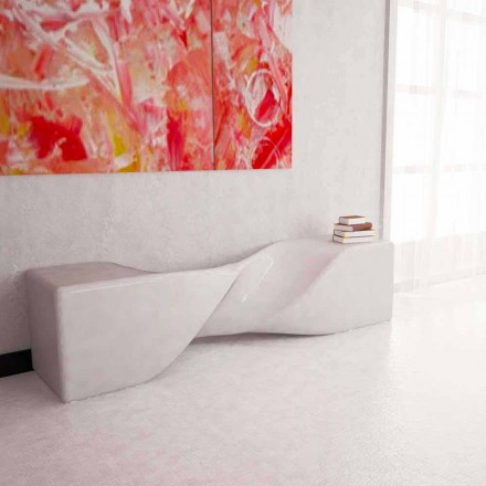 Modern design Solid Surface bench Bobby, handcrafted in Italy