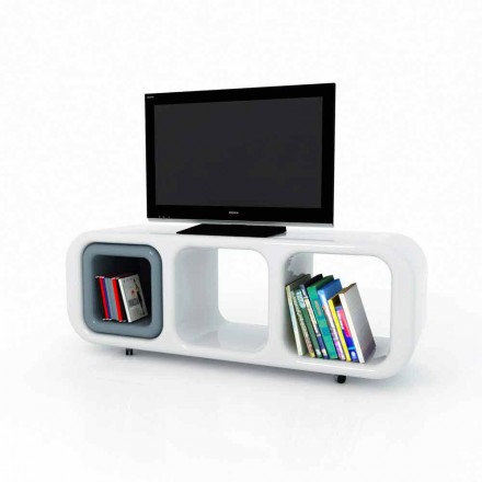 Modern design Solid Surface TV stand Eracle, handcrafted in Italy