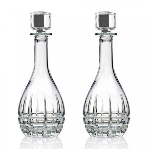 2 Bottles with Round Design Wine Stopper in Decorated Crystal - Fiucco