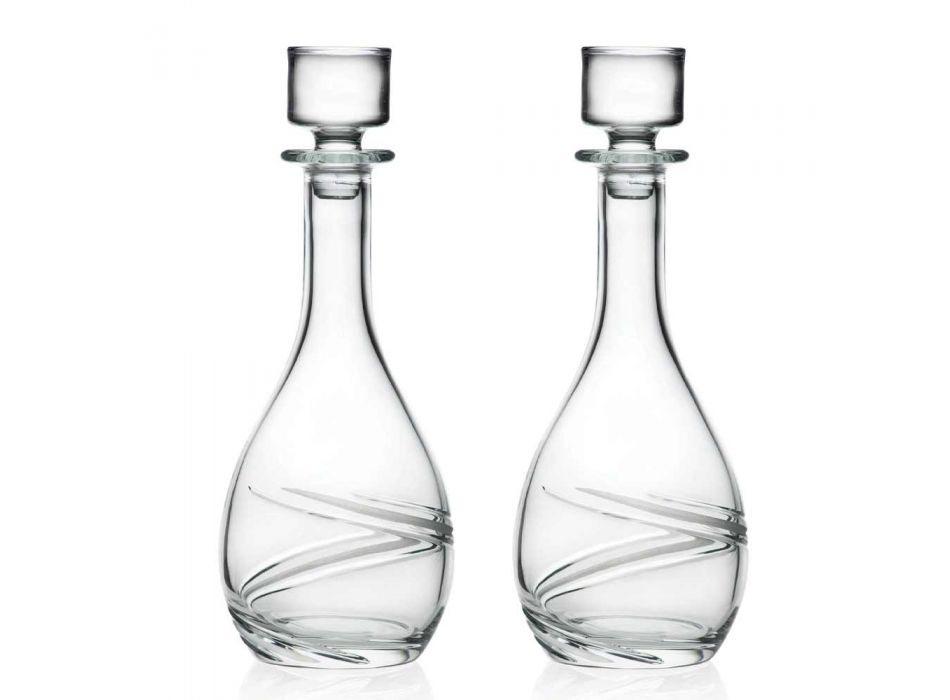 2 Wine Bottles and Luxury Hand Decorated Eco Crystal Lid - Cyclone