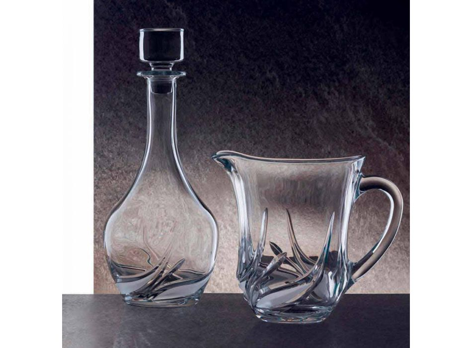 2 Eco Crystal Wine Bottles with Round Design Lid and Decorations - Advent