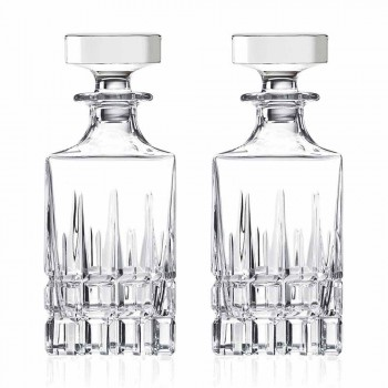 2 Whiskey Bottles with Crystal Cap Square Design with Cap - Fiucco