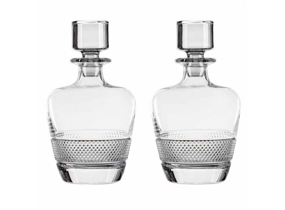 2 Whiskey Bottles Decorated in Ecological Crystal Elegant Design - Milito