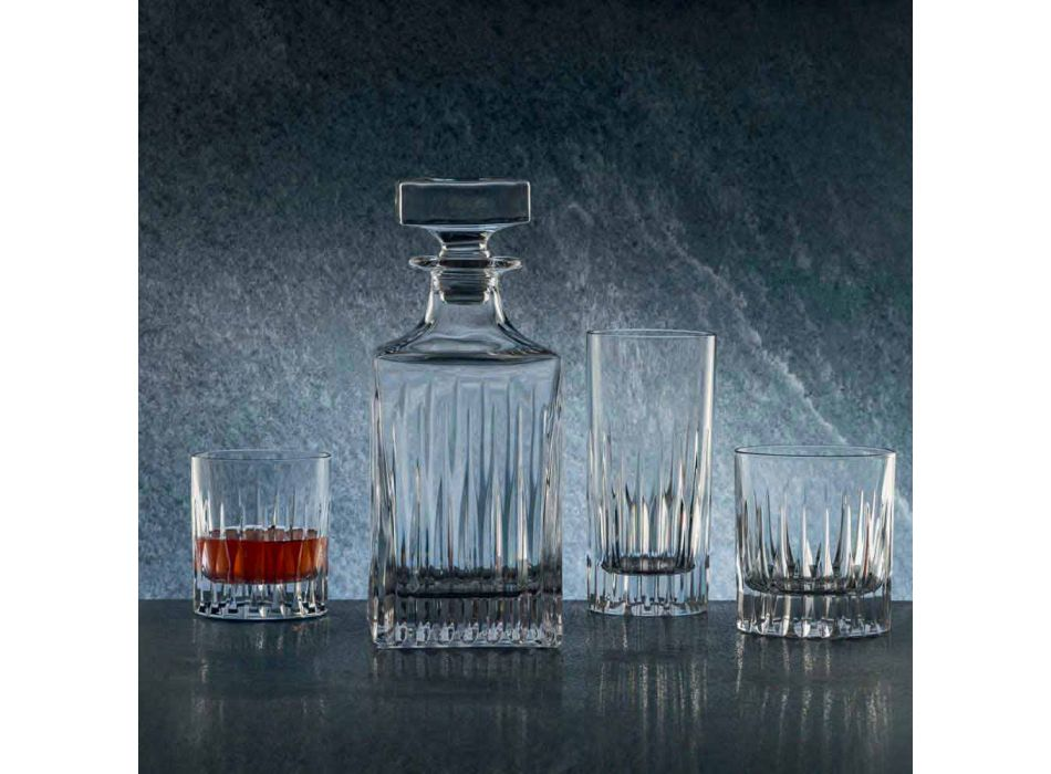 2 Crystal Whiskey Bottles with Manual Grinding Made in Italy - Voglia
