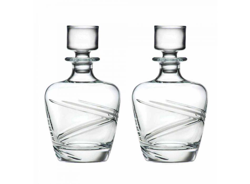 2 Whiskey Bottles in Italian Artisan Ecological Crystal - Cyclone