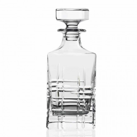 2 Crystal Whiskey Bottles and Decorated Square Design Cap, Luxury Line - Aritmia