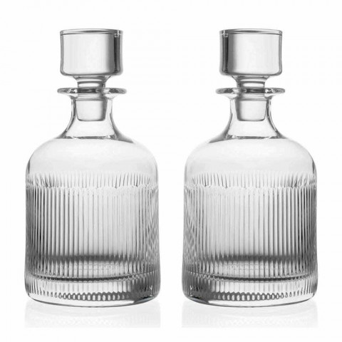 2 Whiskey Bottles with Eco-Friendly Crystal Cap Vintage Design - Tactile