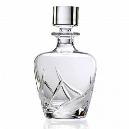 2 Crystal Whiskey Bottles with Decorated Design Cap, Luxury Line - Avvento