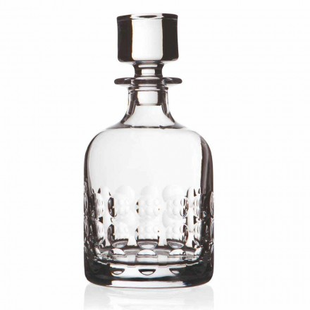 2 Whiskey Bottles in Eco Crystal Decorated with Cap, Luxury Line - Titanioball