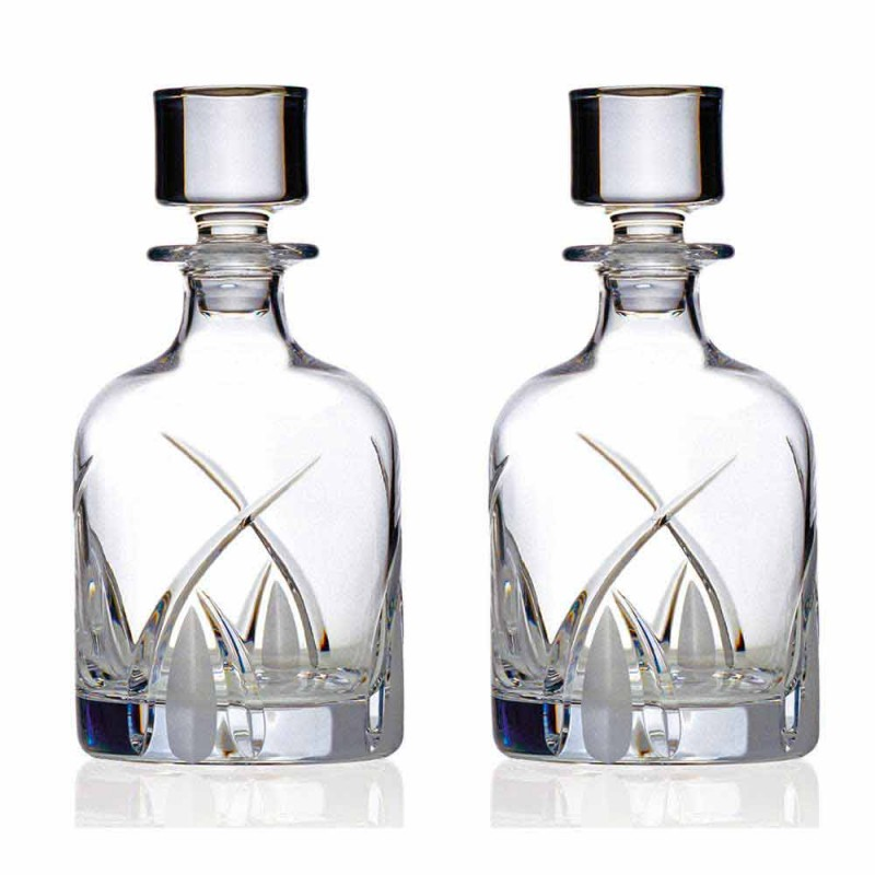 2 Whiskey Bottles with Cylindrical Design Cap in Eco Crystal - Montecristo