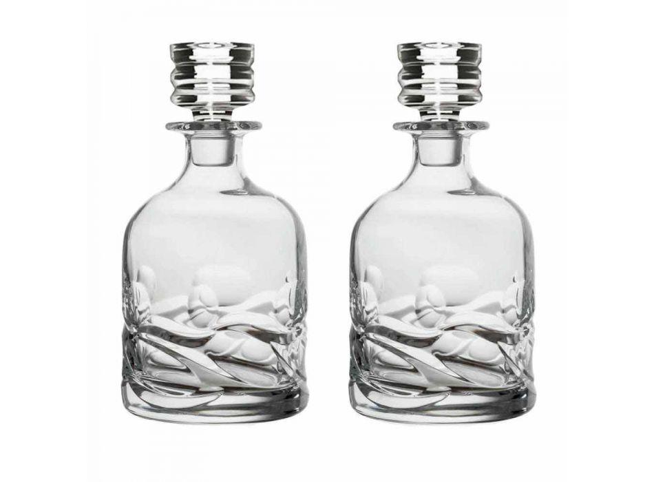 2 Eco Decorated Crystal Whiskey Bottles and Luxury Design Cap - Titanium