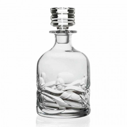 2 Eco Crystal Decorated Whiskey Bottles with Design Cap, Luxury Line - Titanio