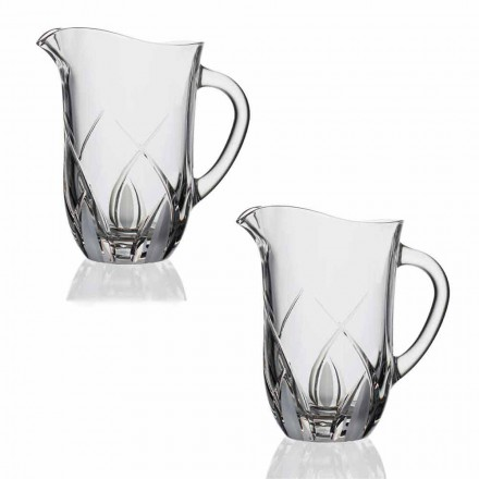 2 Ecological Crystal Water Jugs Luxury Hand Decorated Design - Montecristo