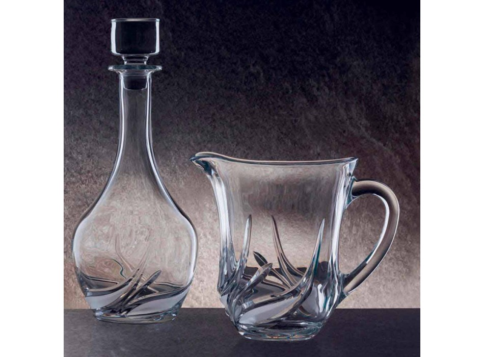 2 Water Jugs in Ecological Crystal with Luxury Decorations Made in Italy - Advent