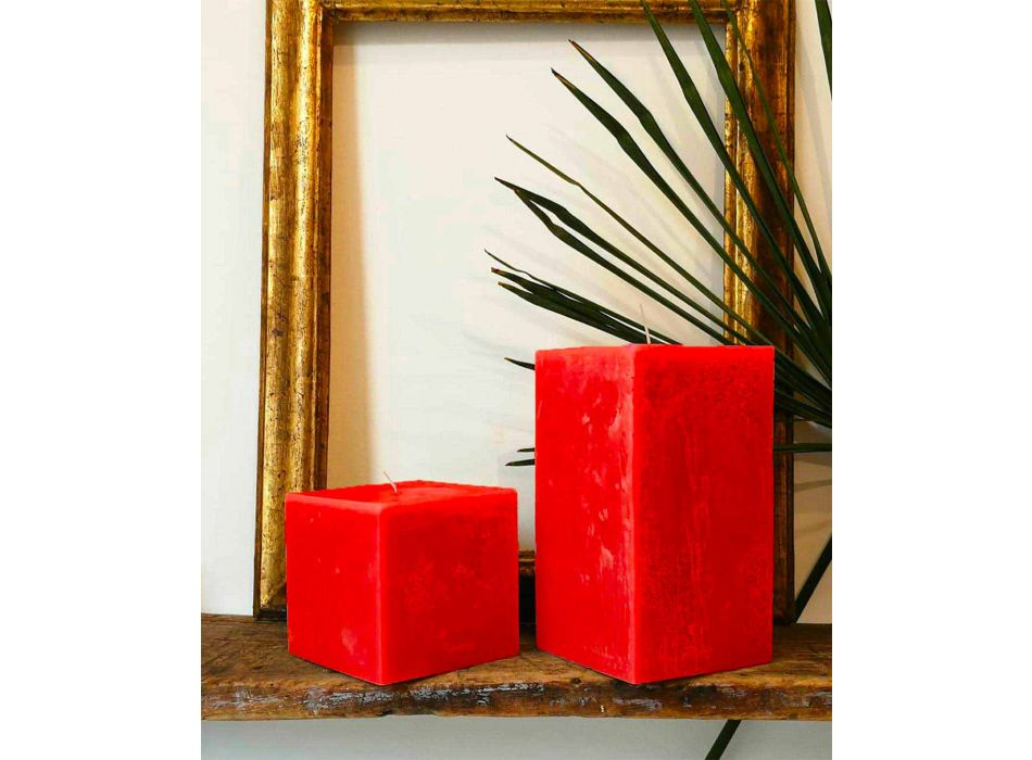 2 Square Candles of Different Sizes in Wax Made in Italy - Adelle