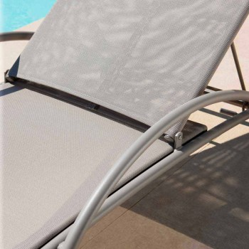 2 Stackable Outdoor Chaise Longues in Metal and Fabric Made in Italy - Perlo