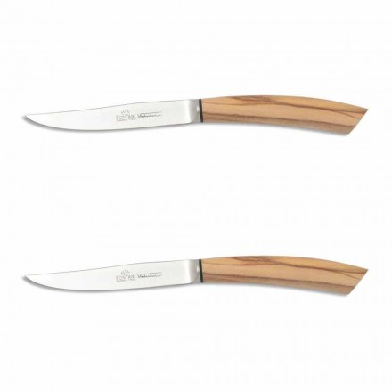 2 Steak Knives with Handle in Ox Horn or Wood Made in Italy - Marino