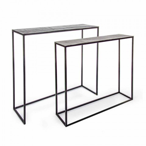 2 Consolle in Steel Industrial Style Modern Design Homemotion - Sesame